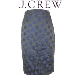 J crew black/blue circle embroidered pencil skirt